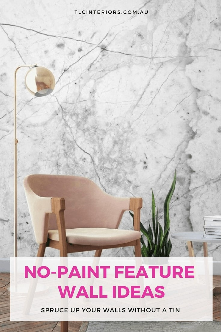 white marble wallpaper design with blush pink armchair