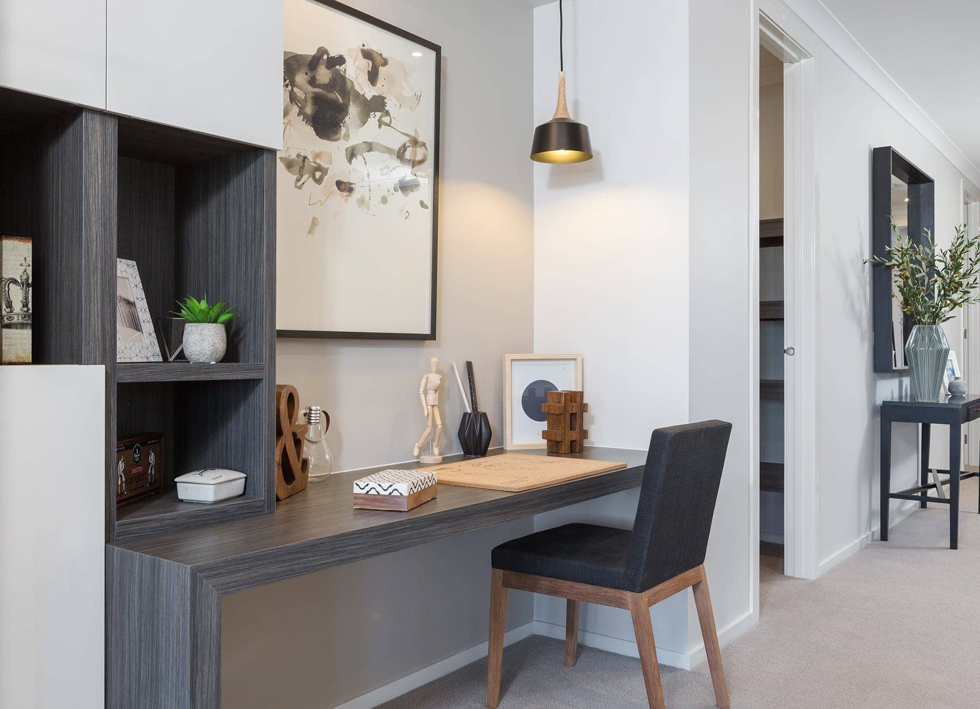 built in study nook in home office in metricon homes display home