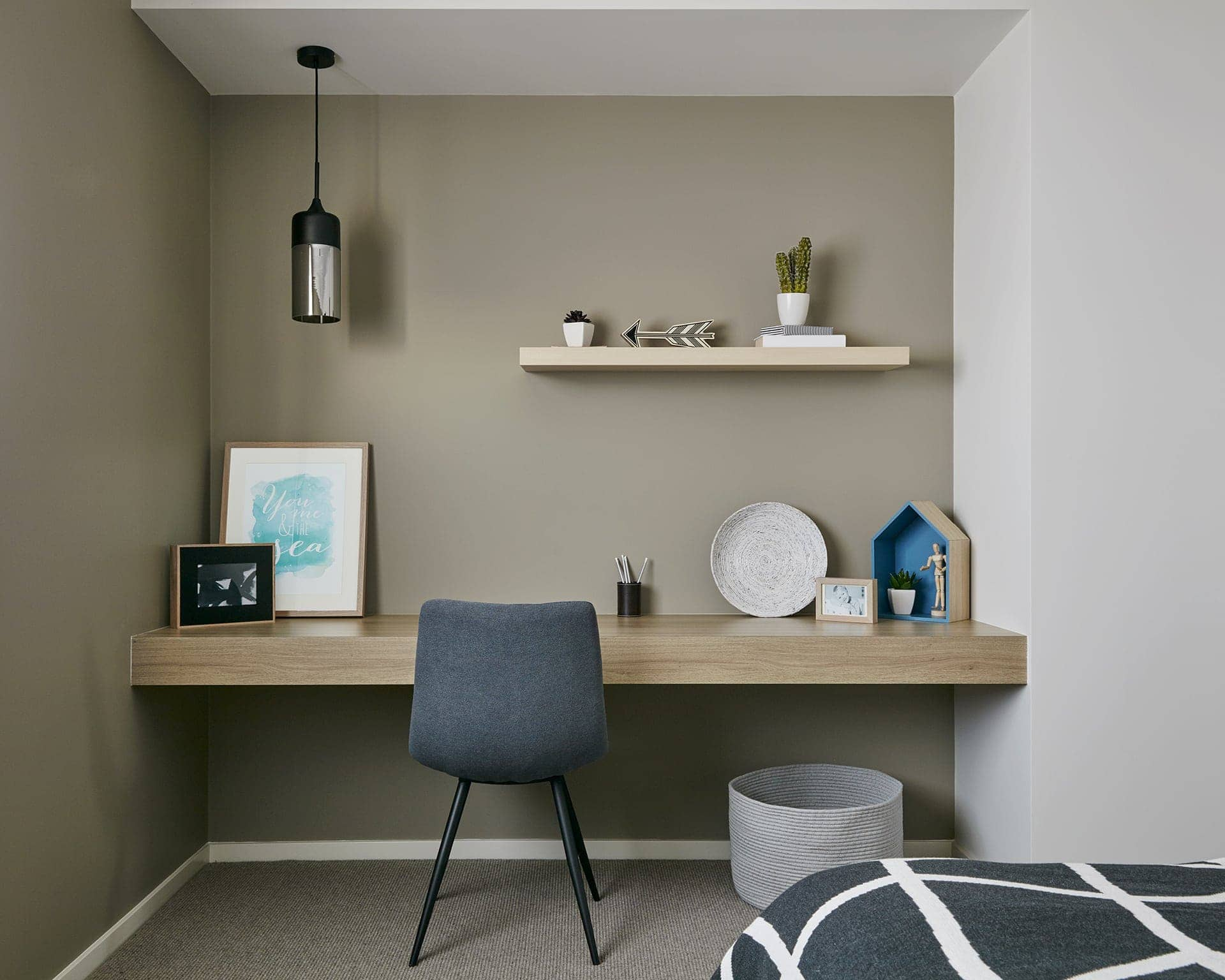 built in study nook in metricon display home floating office desk