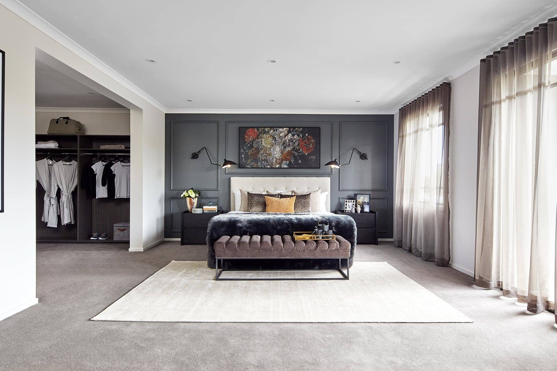 dark bedroom wall ideas from metricon hampshire display home in essendon