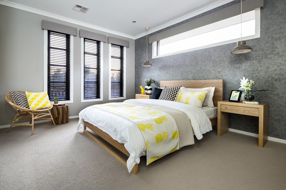 dark bedroom wall ideas gret feature wall in tropical bedroom by metricon