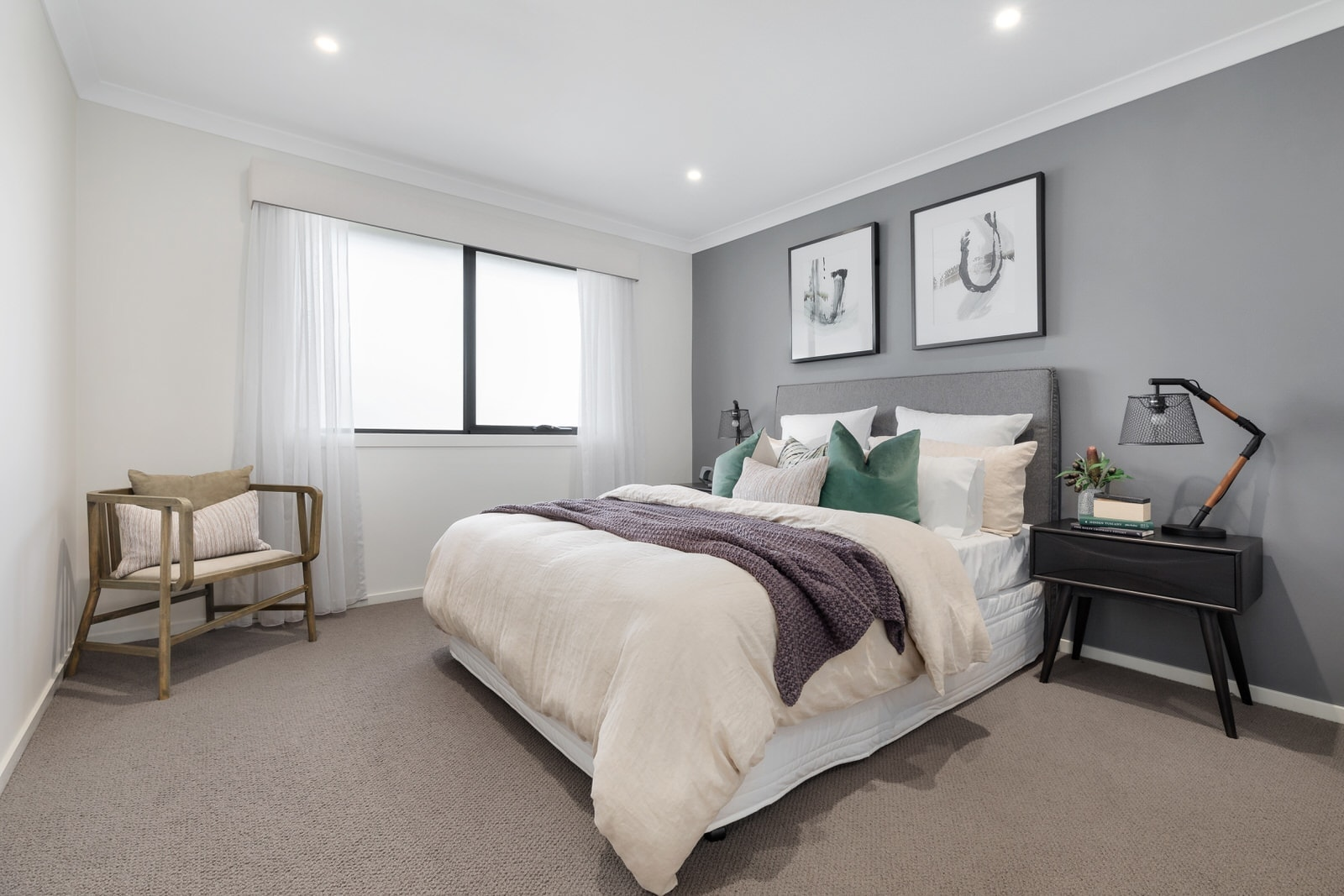 dark bedroom wall ideas light grey bedroom feature wall from metricon display home