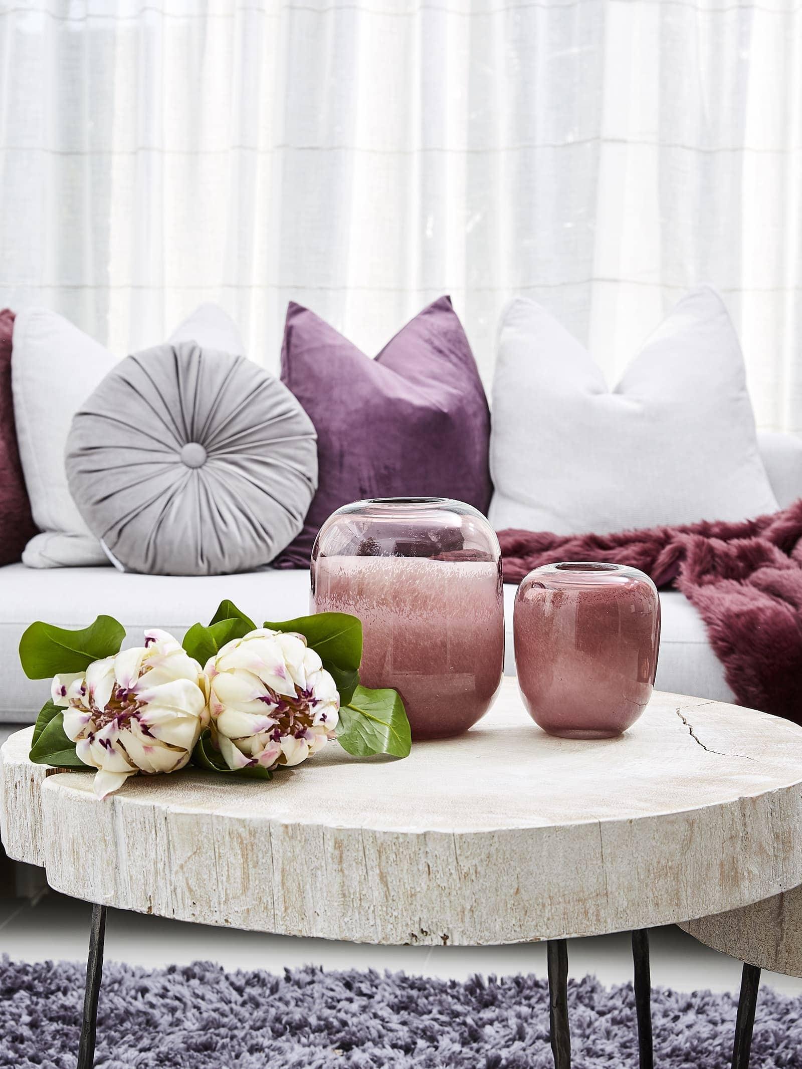 purple sofa styling ideas lorraine lea cushions in prune