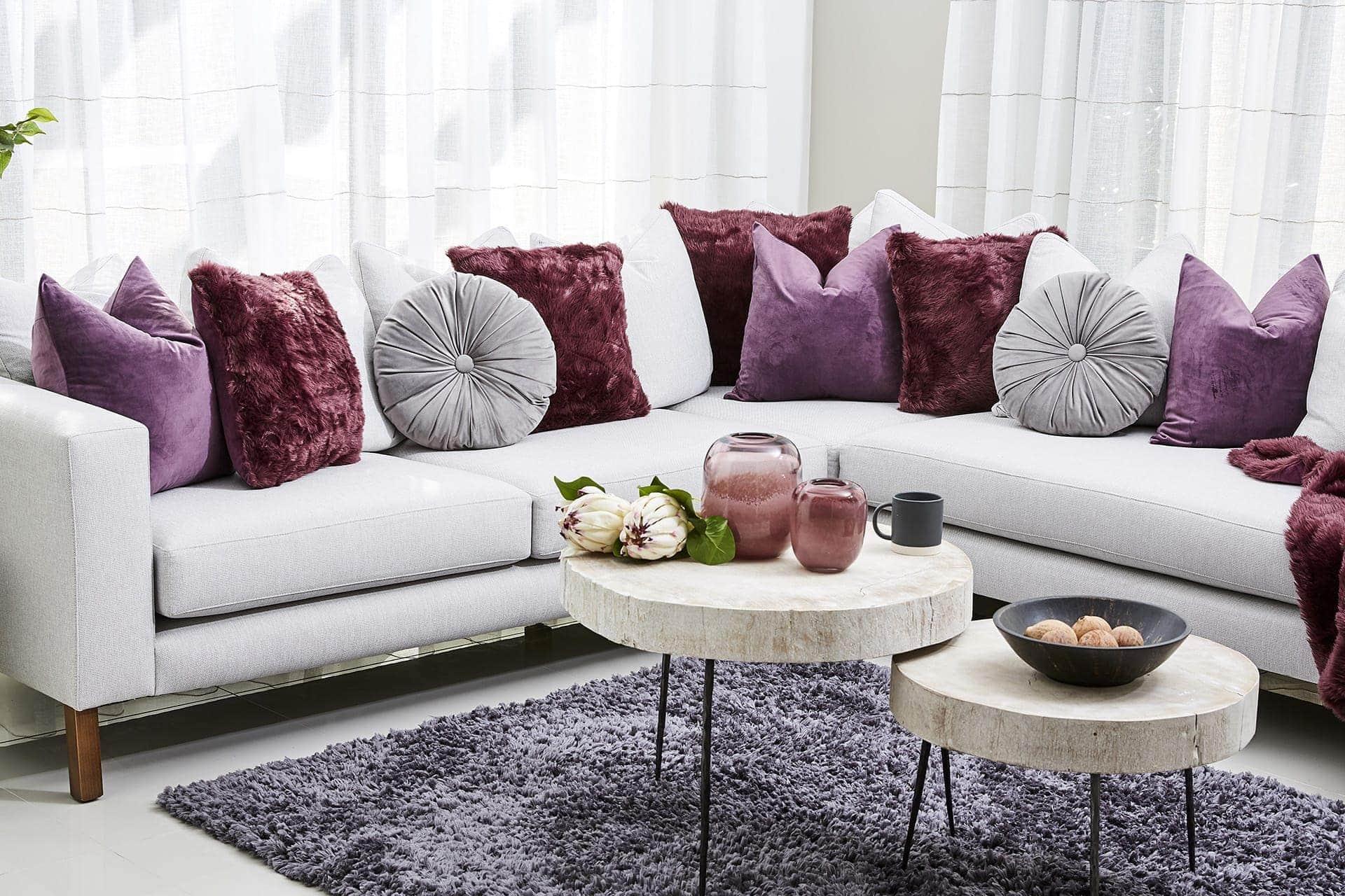 purple and grey sofa styling ideas lorraine lea cushions