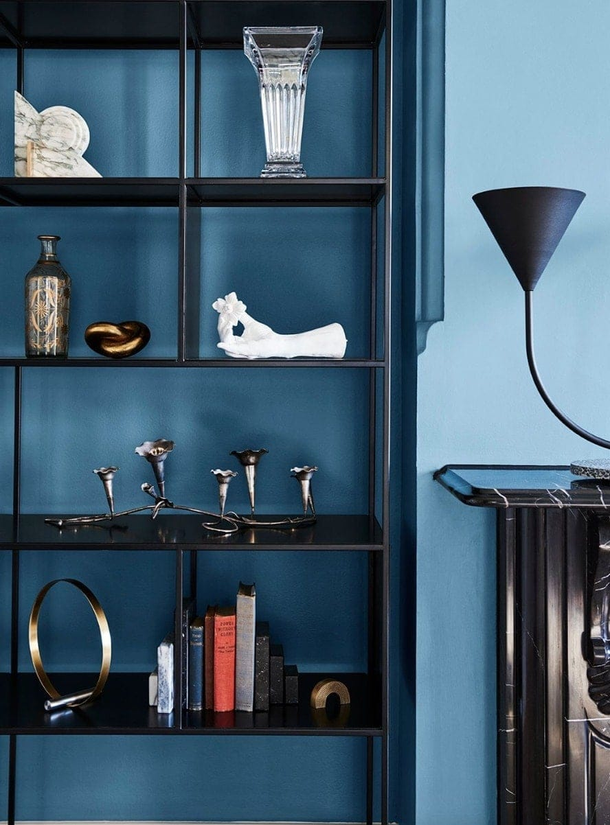 2019 home colour trends deep blue wall with black shelving from dulux
