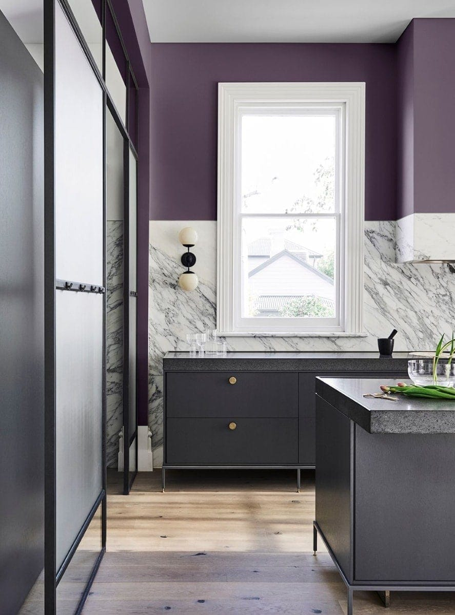 purple kitchen wall with grey cabinetry dulux 2019 home colour trends