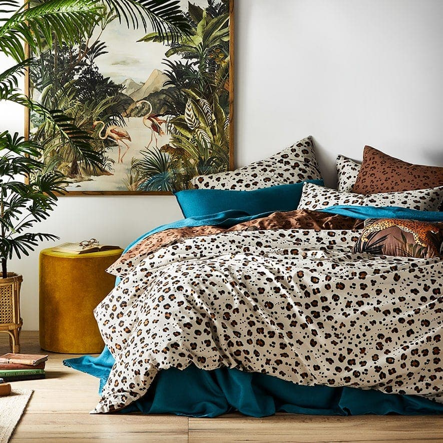 adairs leopard print bedding animal print quilt cover set