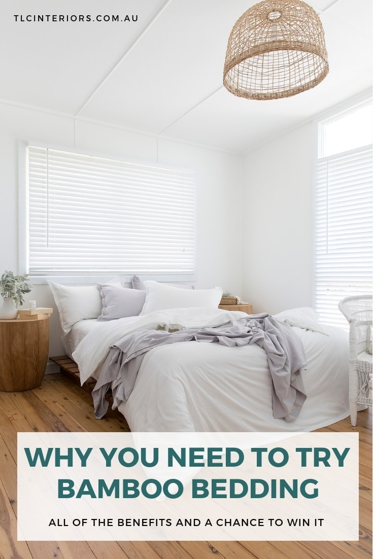 all white bedroom with grey and white bamboo bedding