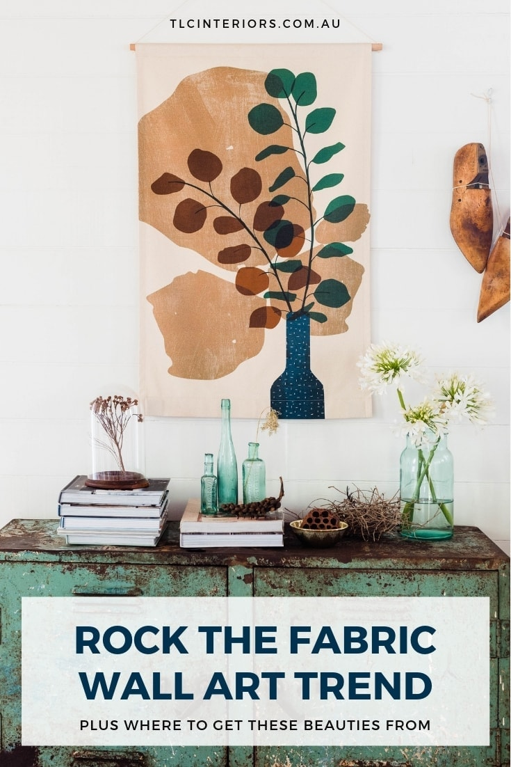 fabric wall art in eclectic living room by home sweller