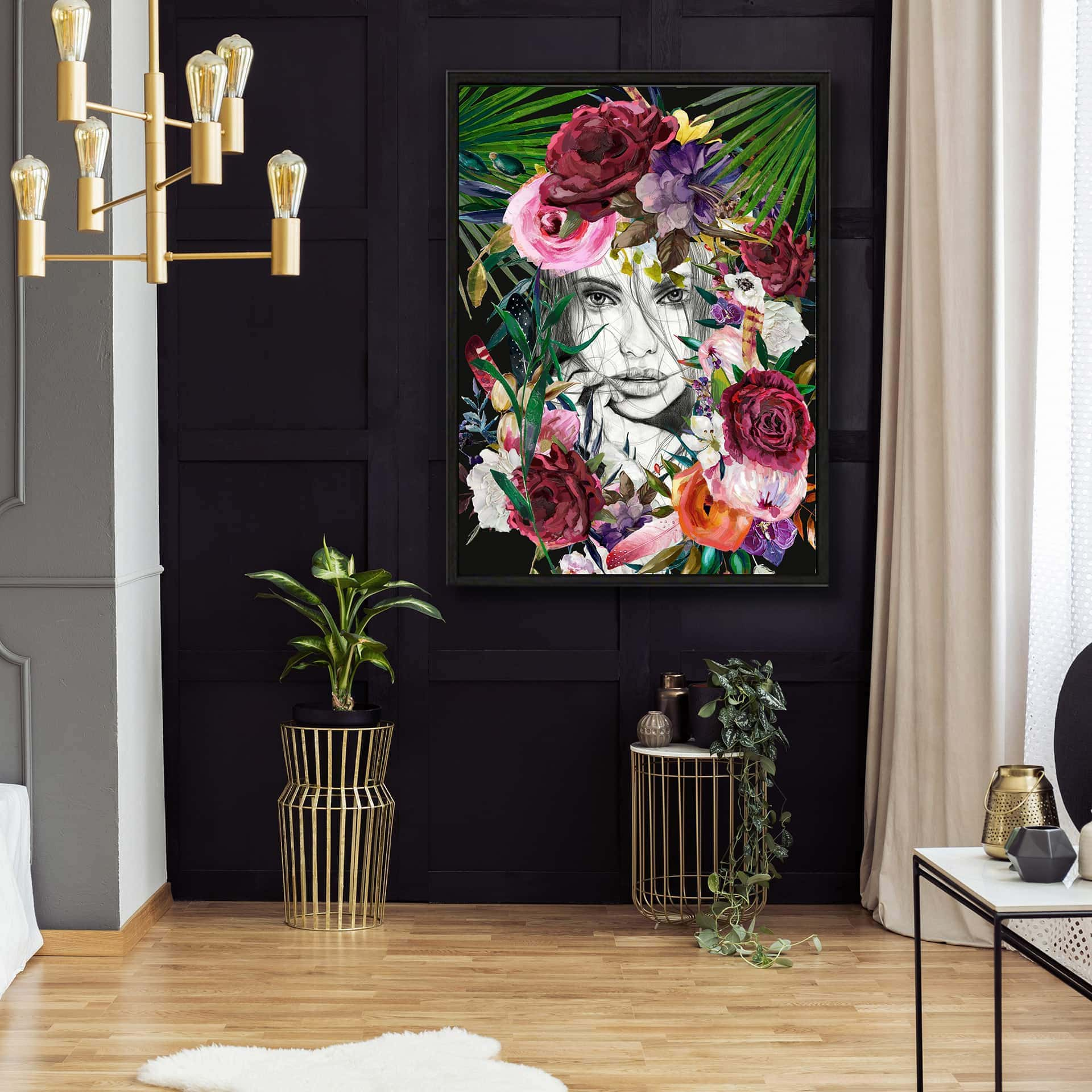 for the love of paris female face artwork black and gold poster above plants in bedroom interior with whit