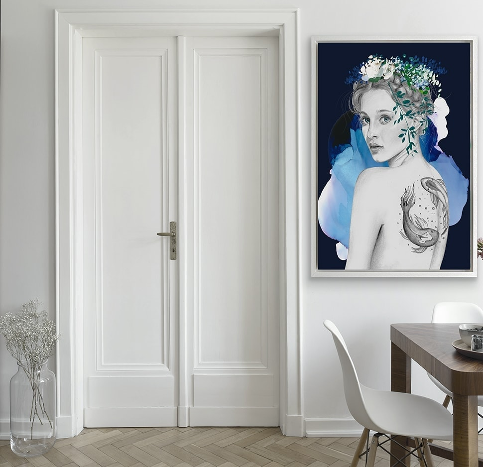 piecies zodiac artwork for the love of paris white wall with double door next to a wooden breakfast table a