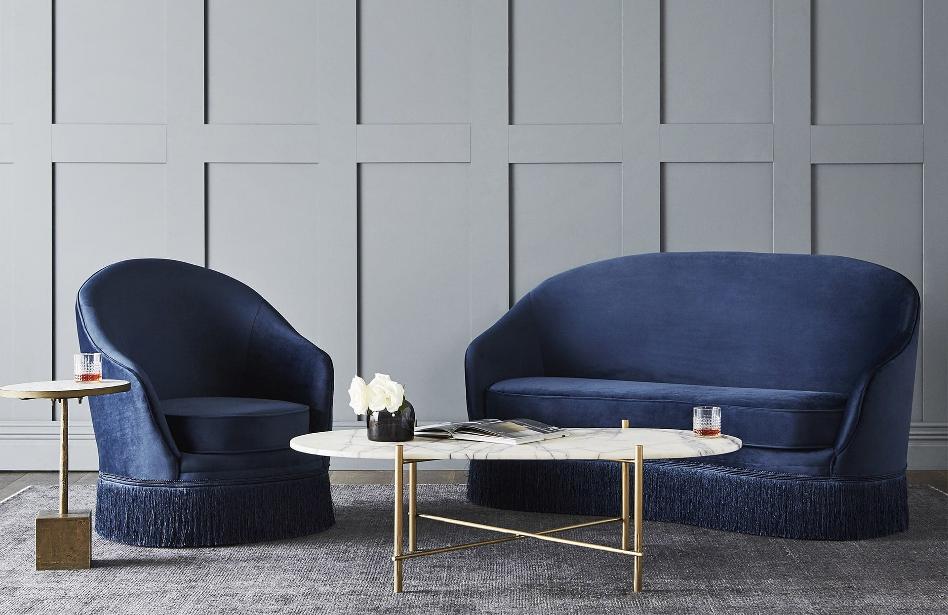 globewest kennedy fringe sofa navy blue velvet sofa globewest