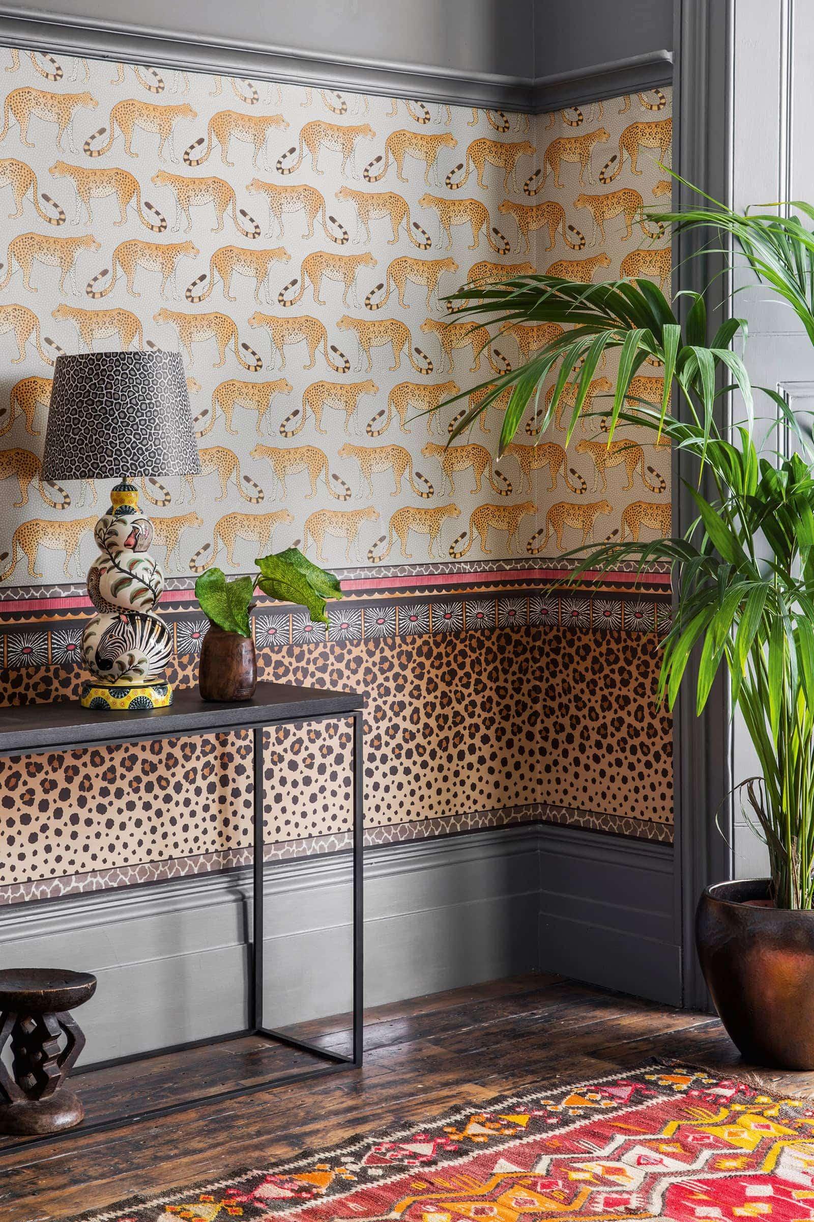 leopard print wallpaper design in hallway animal print in interior design
