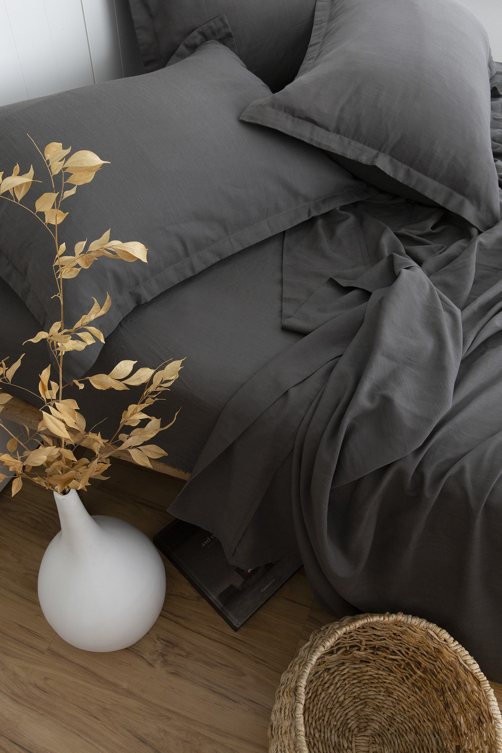 loom living charcoal grey bamboo quilt cover set