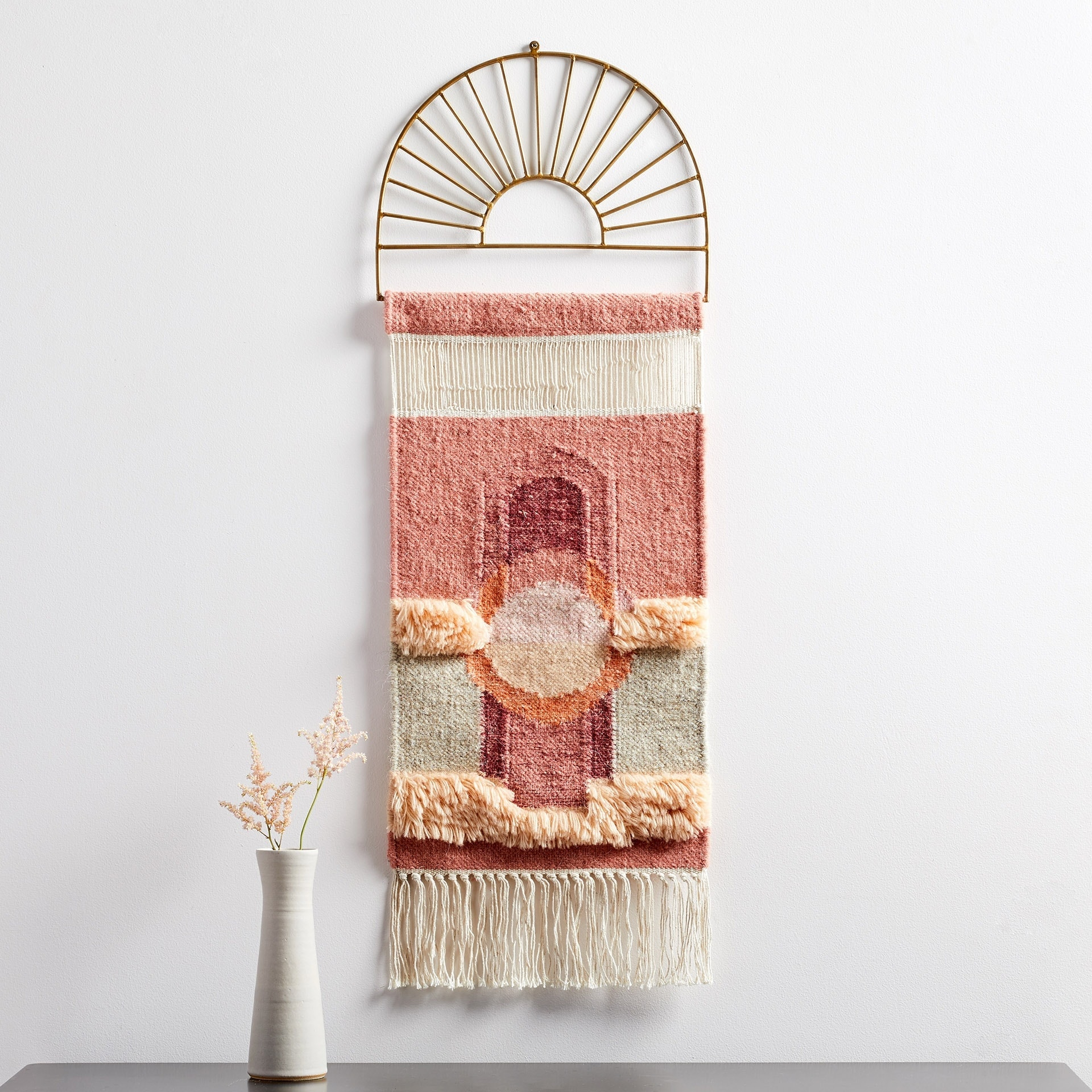west elm nouveau tapestry fringe wall hanging in coral