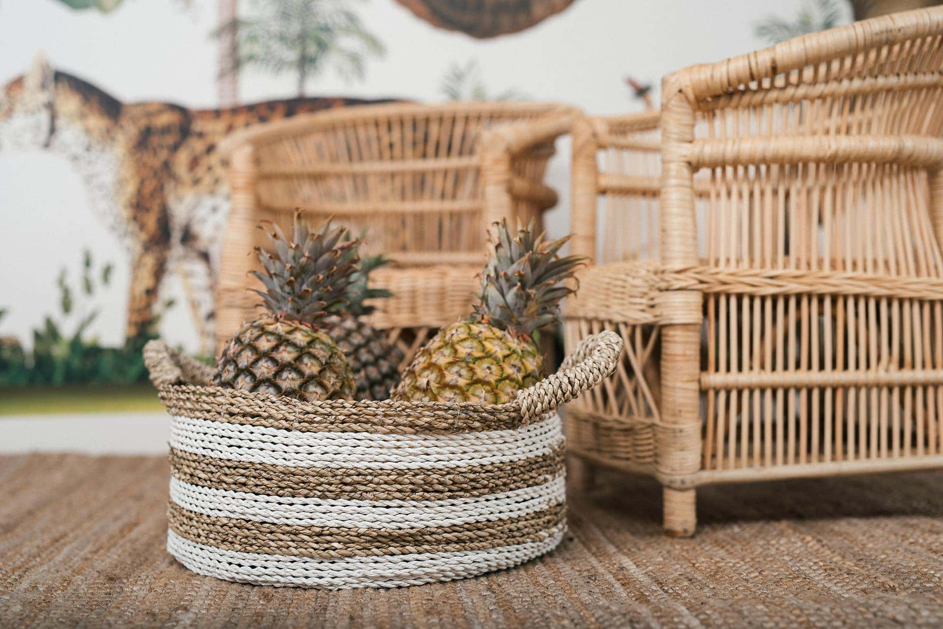 bohemian kids furniture by raja home wicker baskets with pineapples