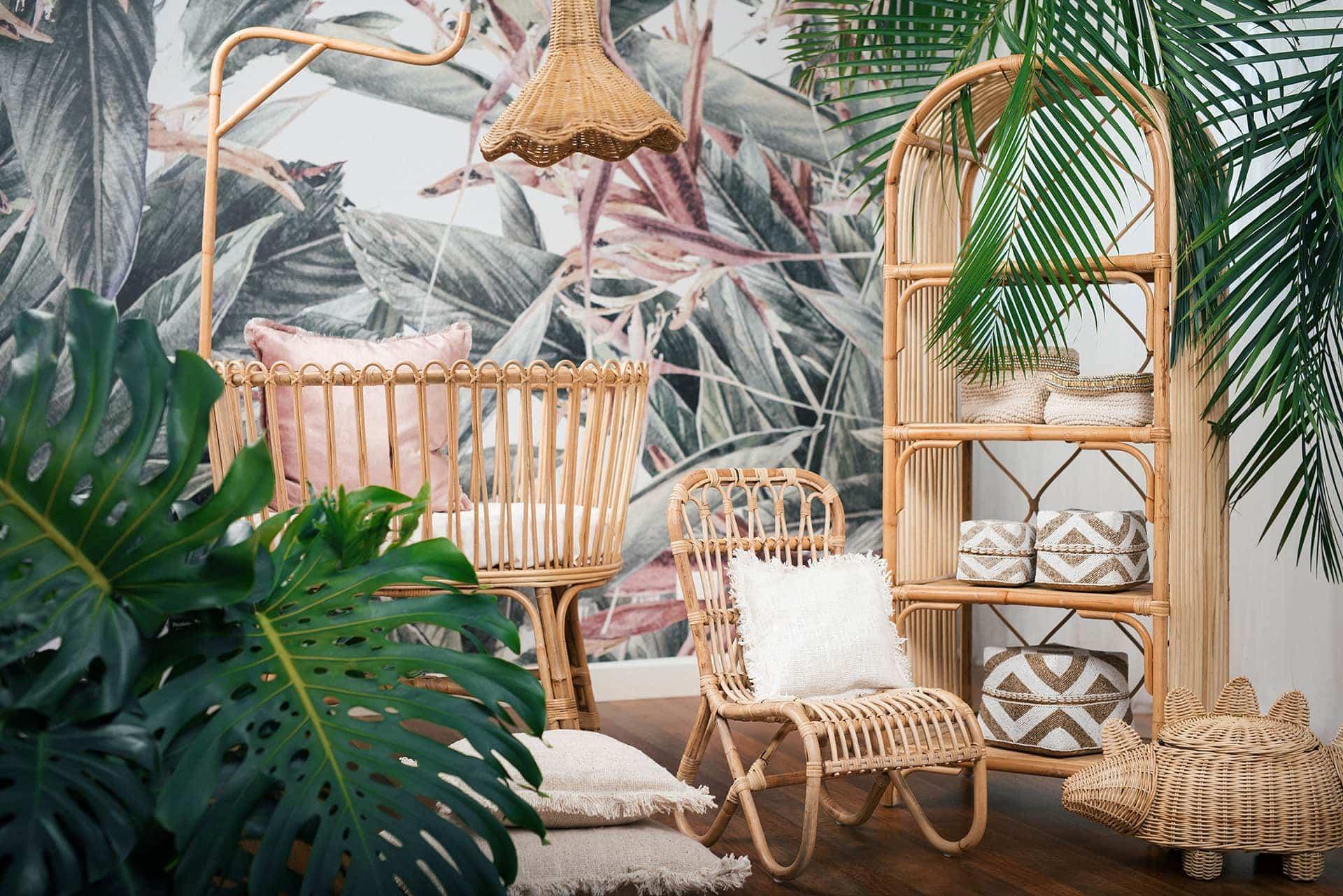 bohemian kids furniture rattan kids armchair and rattan shelf in tropical wallpaper bedroom