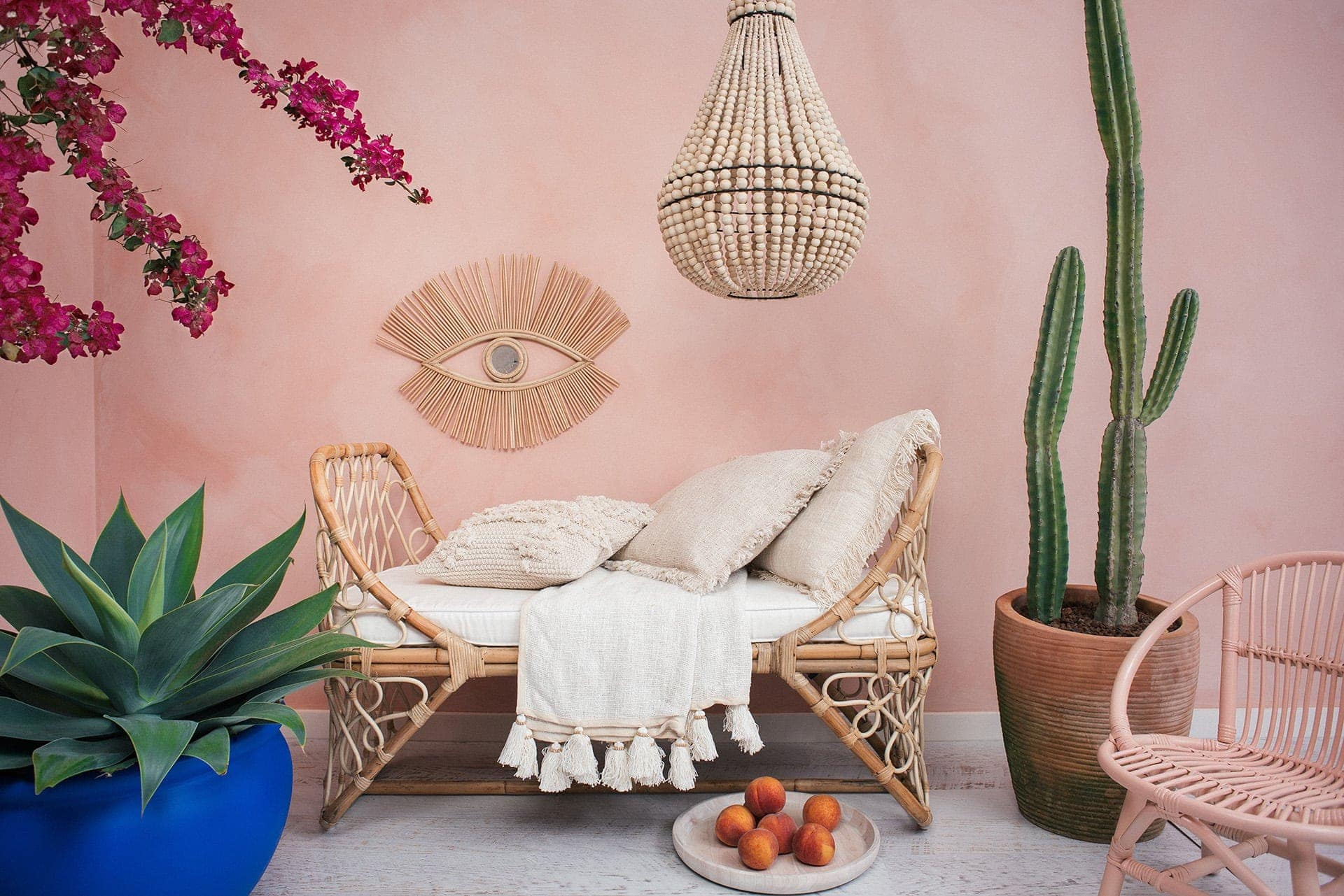 bohemian kids furniture rattan kids bed and eye mirror on pink wall
