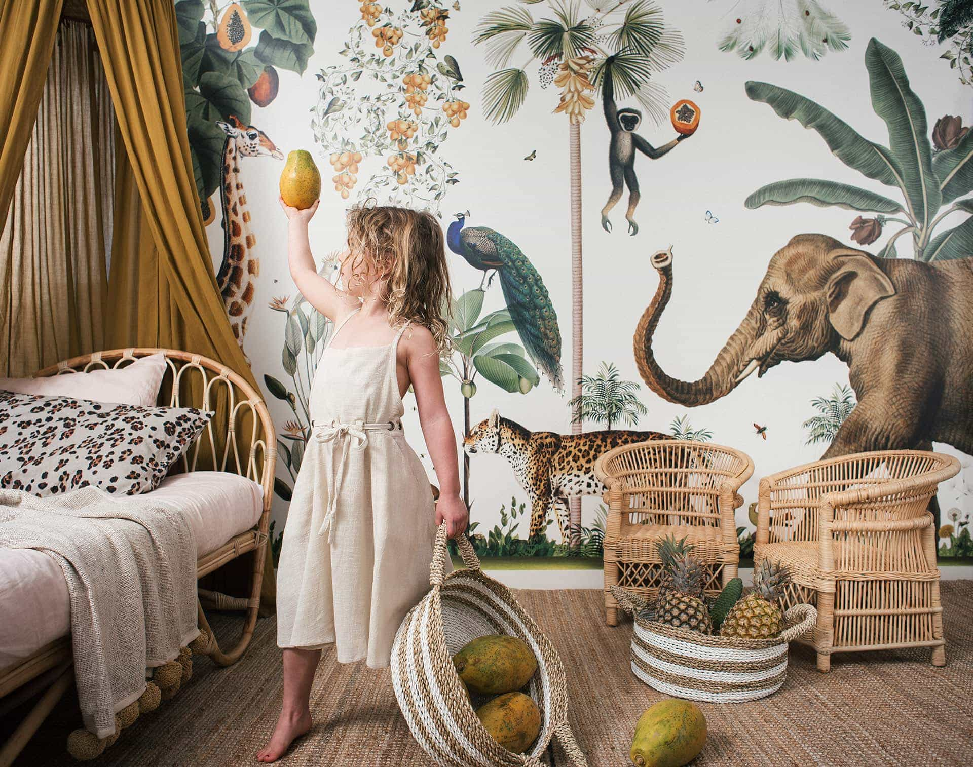 raja home rattan kids furniture bohemian kids bedroom with tropical wallpaper