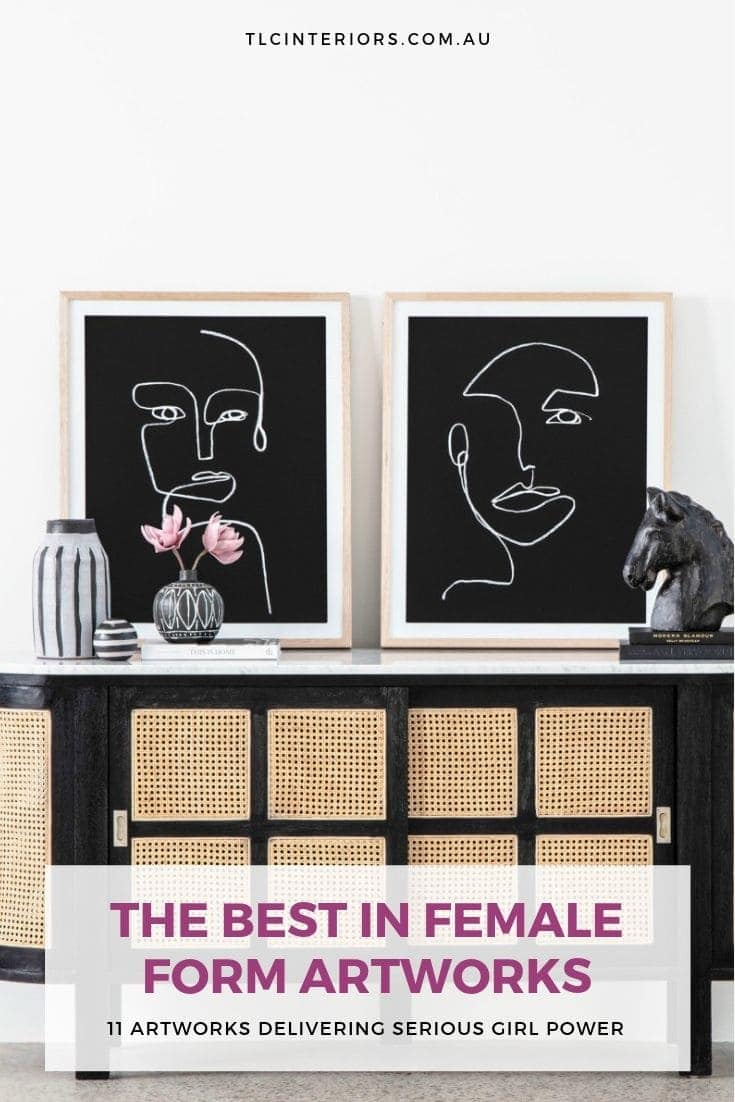 black and white female face artworks from oz design on black sideboard