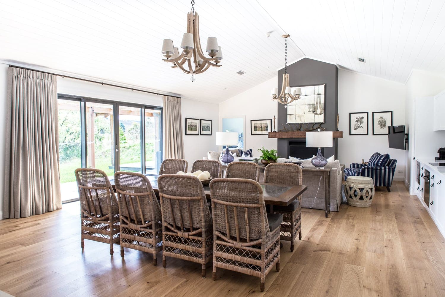 country style living and dining room with panelled ceiling and light timber floorboards