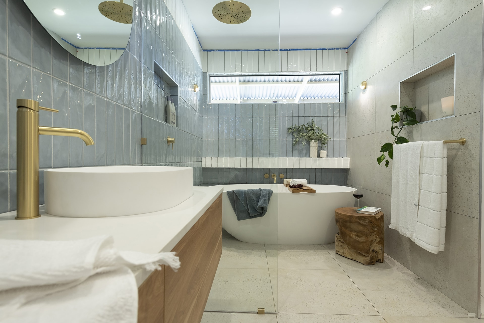 house rules 2019 eliza and mikaela ensuite with blue glaze subway tiles and gold tapware