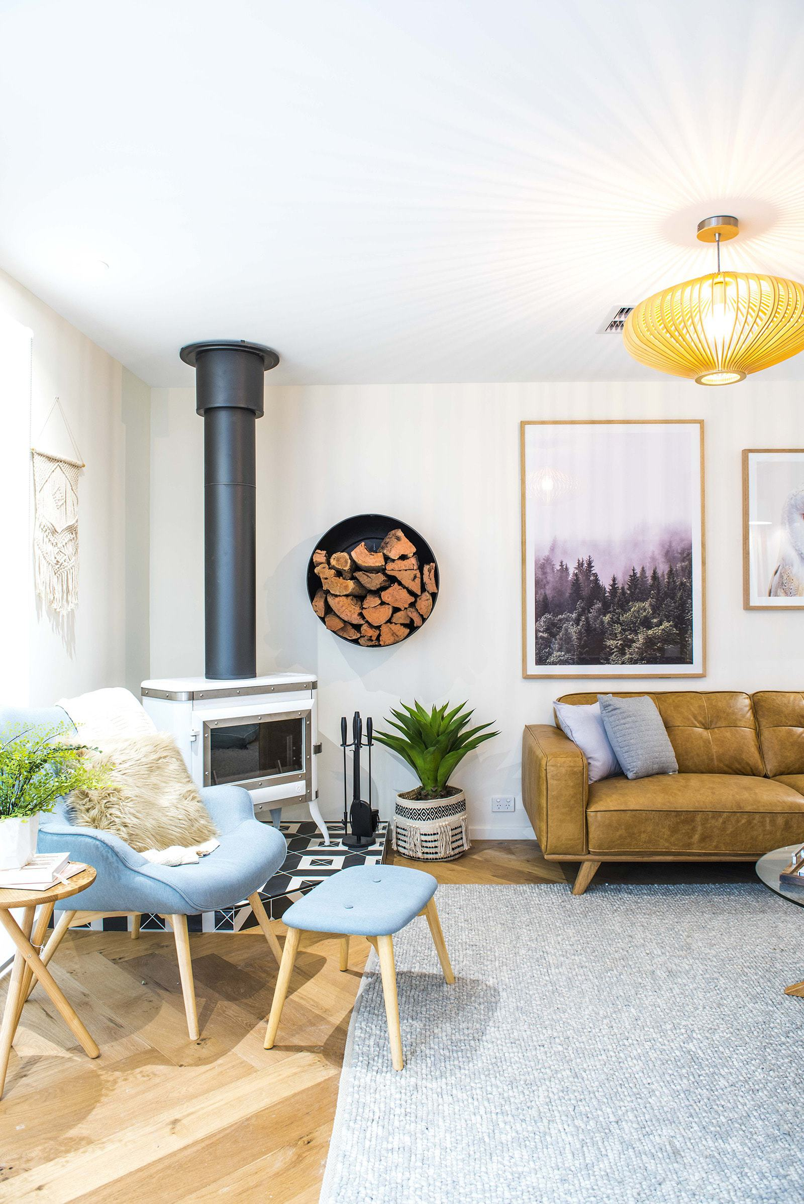 house rules 2019 lisa and andy living room with corner fireplace and scandi styling