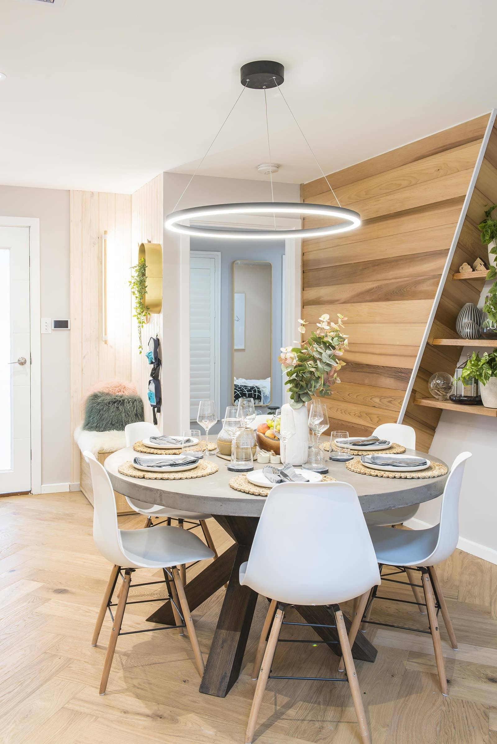 house rules 2019 lisa and andy nordic dining room with round concrete dining table