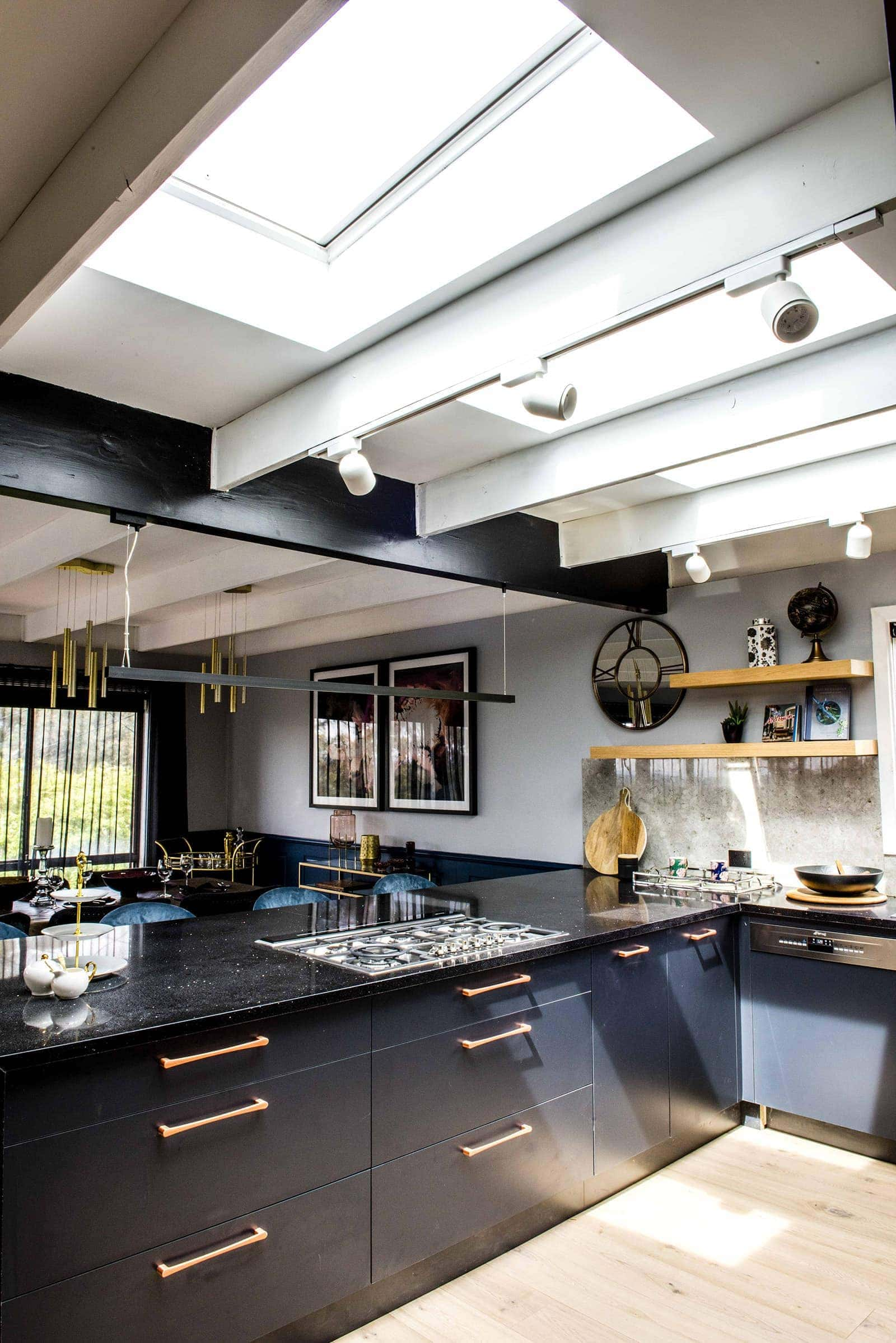 house rules 2019 pete and courtney kitchen blue kitchen with black benchtop