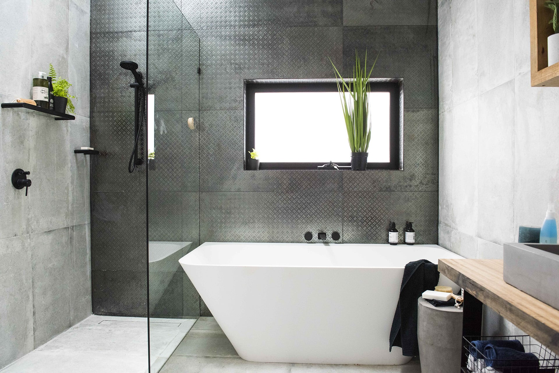 house rules 2019 tim and matt industrial bathroom with metal wall panels