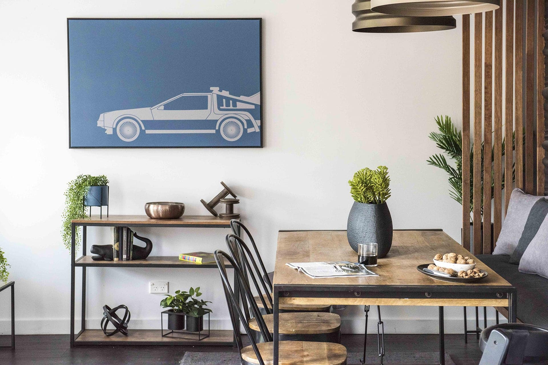 house rules 2019 tim and matt industrial style dining room with timber sideboard and metallic decor