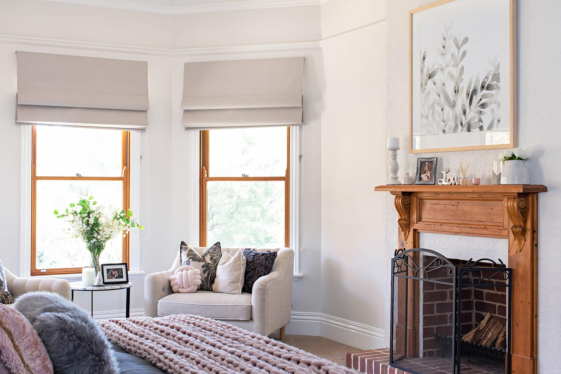 modern provincial master bedroom with reading nook in bay window