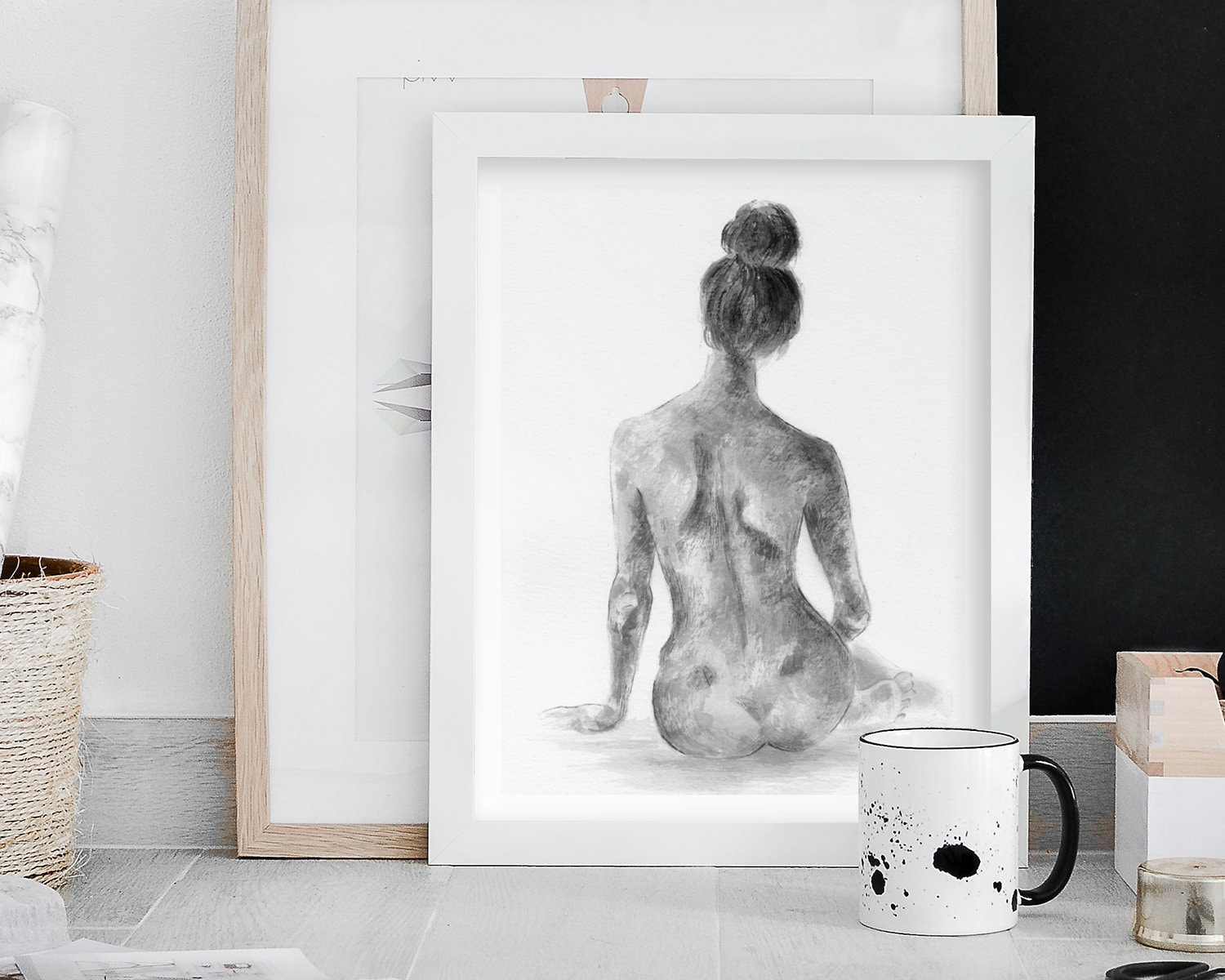 nude female body artwork sketch in black and white via etsy