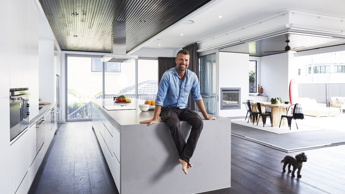 pete evans family home built by metricon concrete countertop
