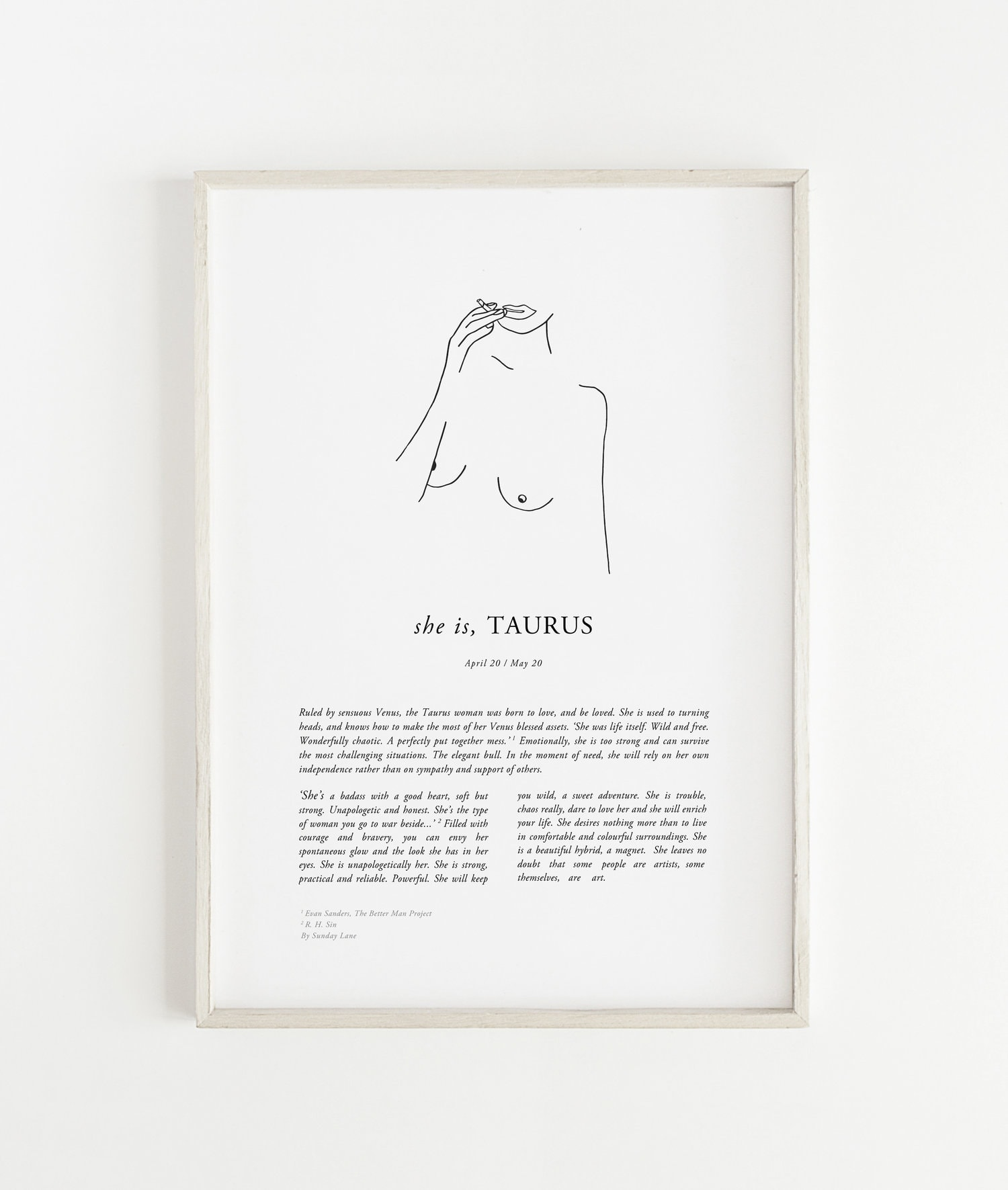 taurus woman zodiac art from sunday lane