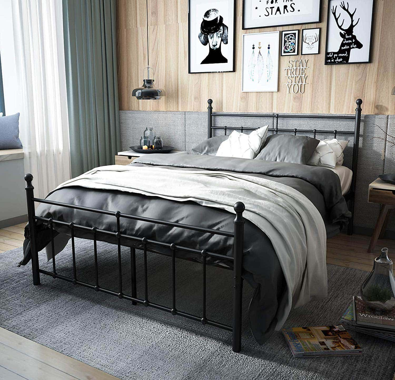 amazon black metal bed frame in masculine bedroom vertical oak wall panels