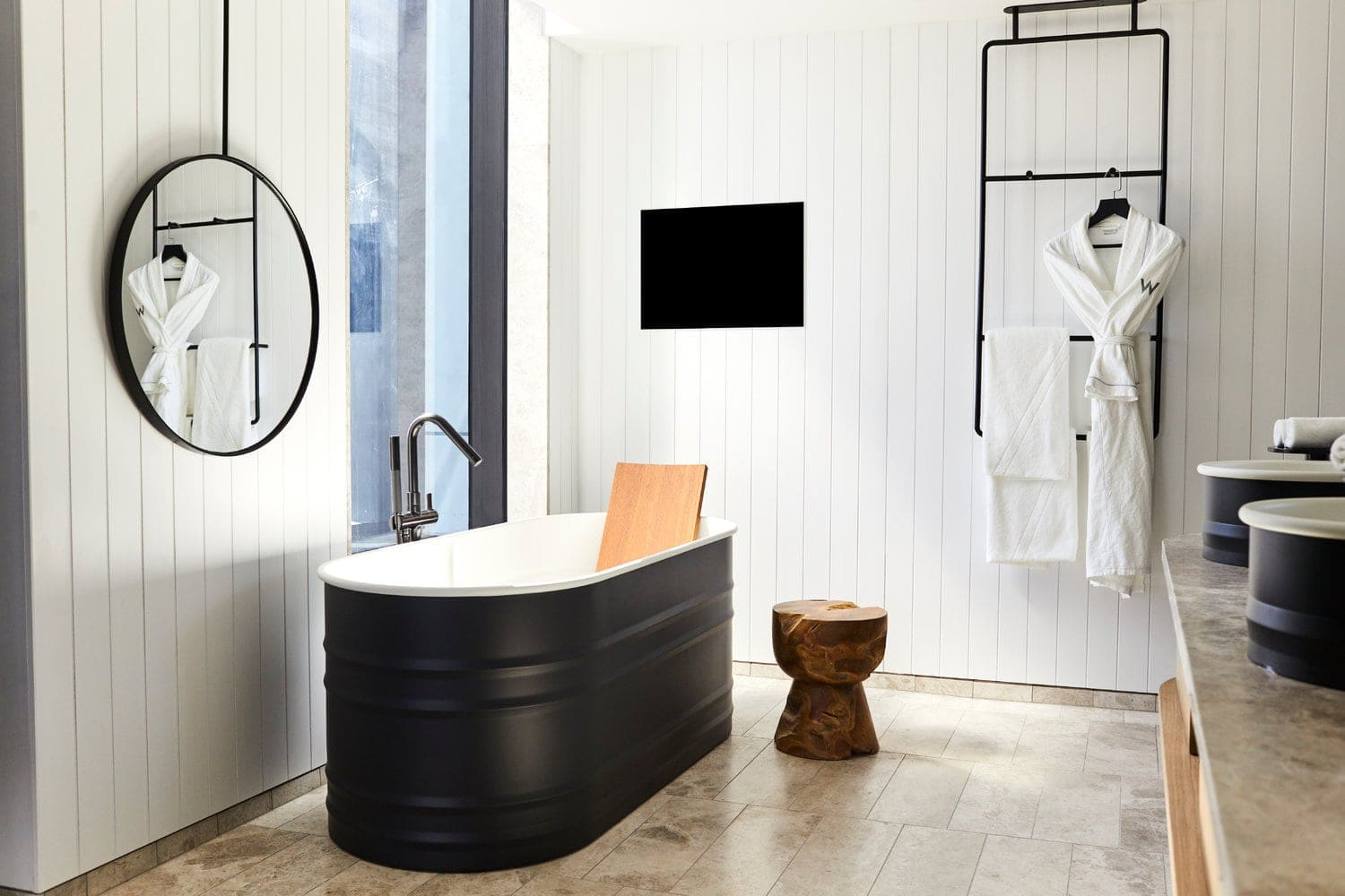 australian design review tongue and groove wall panelling in white bathroom