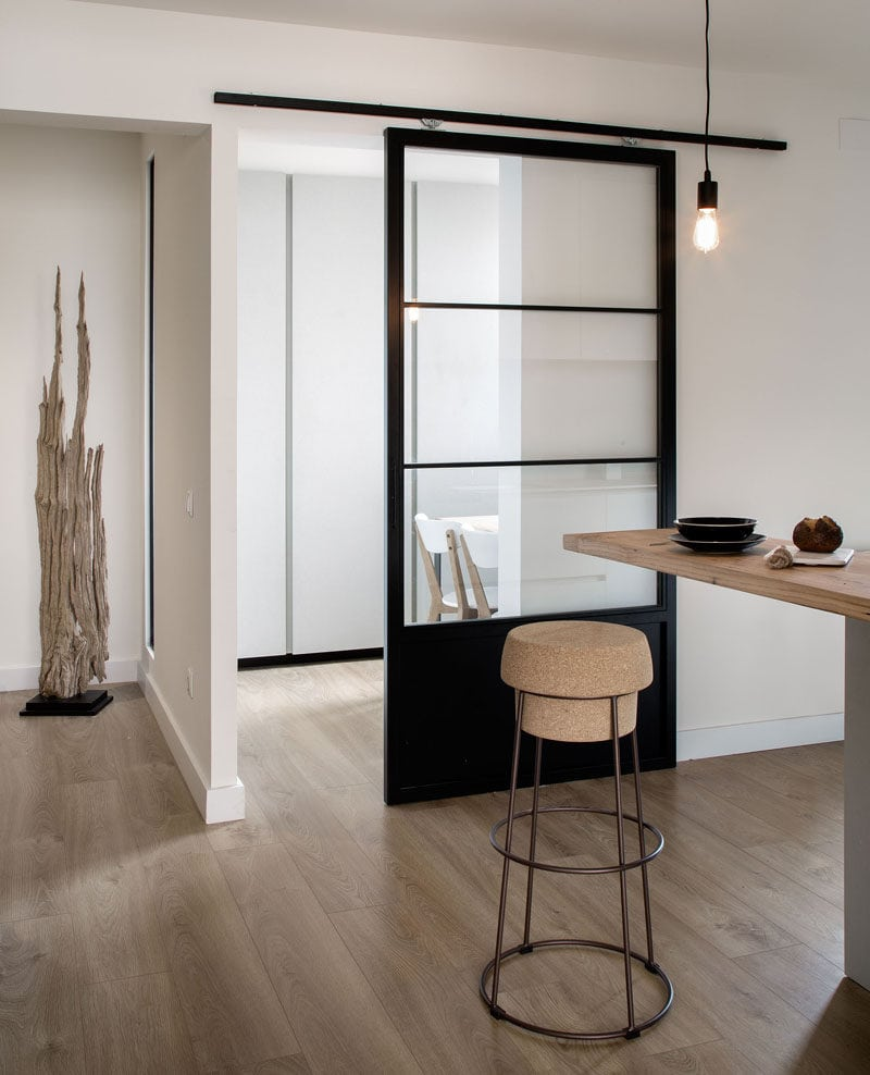 black glass barn sliding door interior