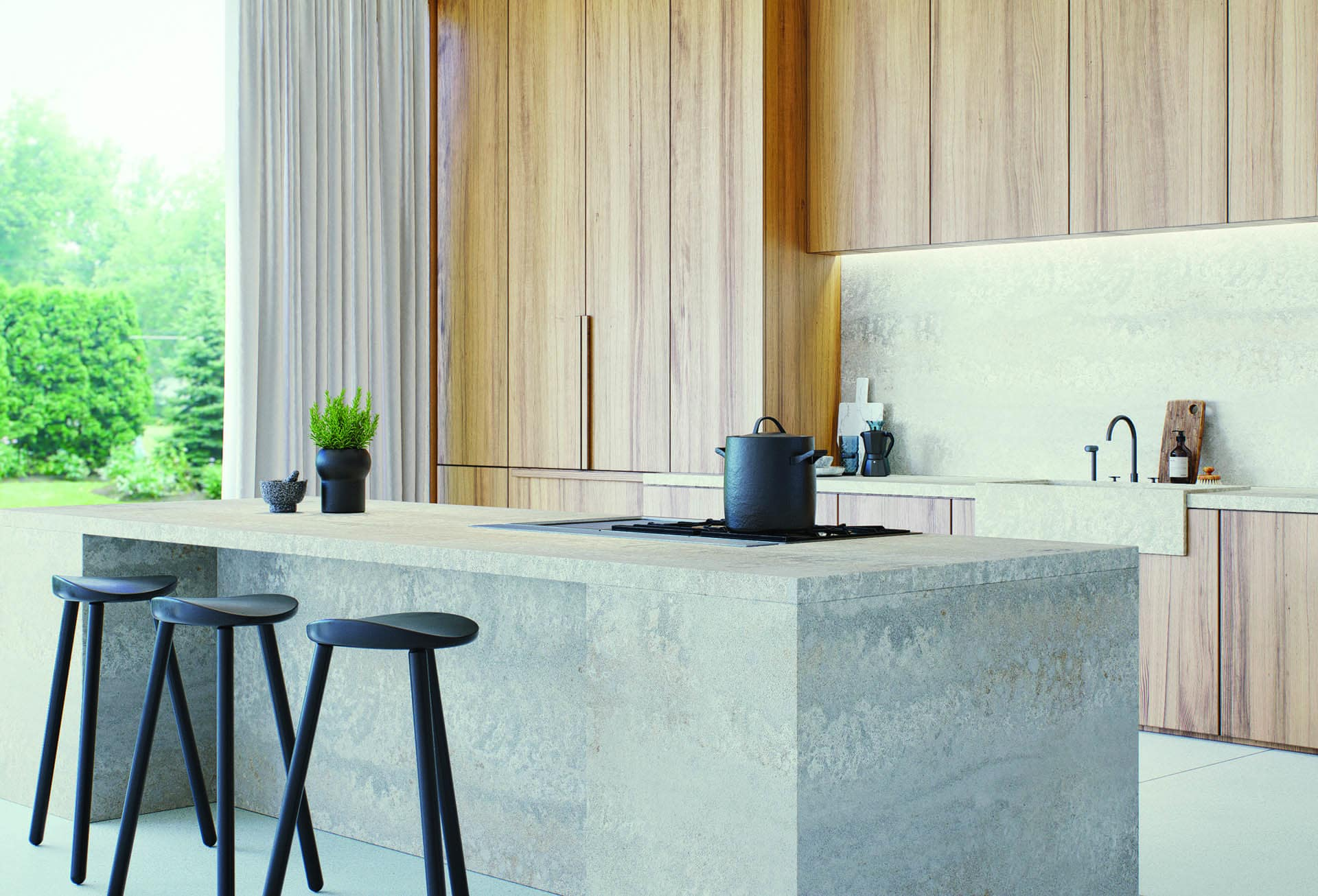 caesarstone concrete benchtop primordia in oask kitchen cabinets