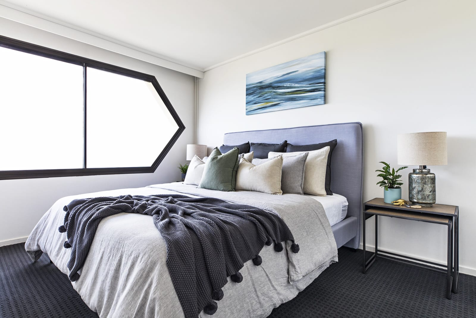 coastal bedroom in st kilda apartment with adairs bed linen in beige and grey