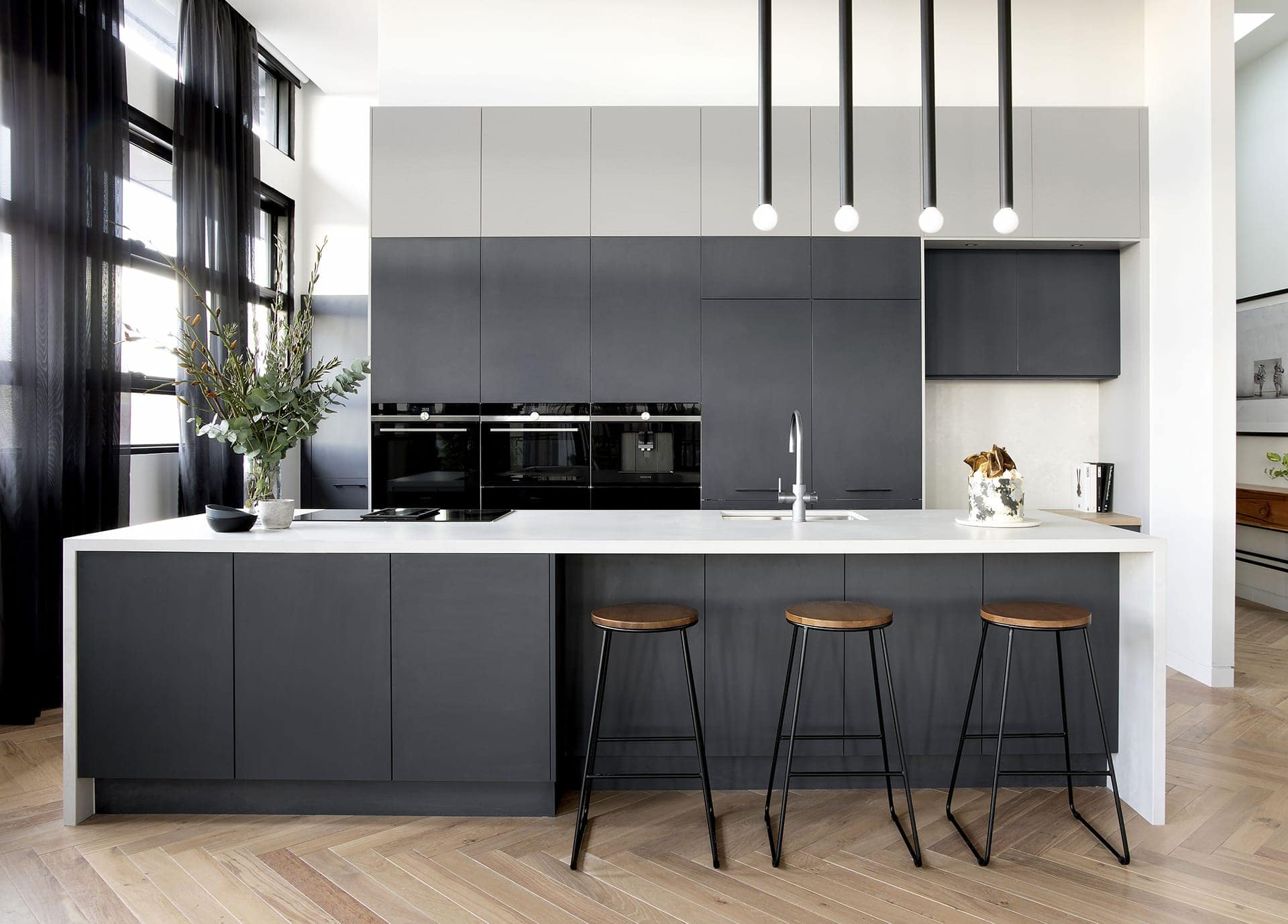 coloured kitchen cabinets charcoal grey kitchen cabinets with white benchtop freedom kitchens