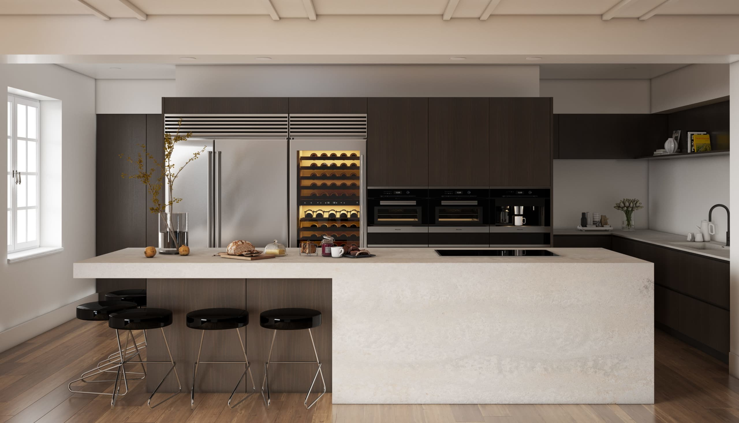 concrete look benchtop in brown kitchen Primordia by Caesarstone (2) resize