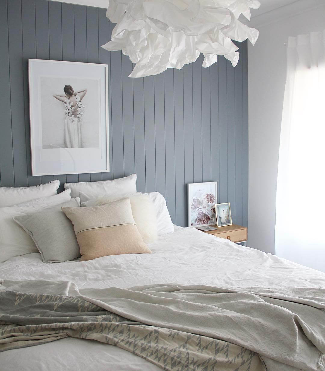 easycraft tongue and groove wall panelling in white bedroom with blue feature wall