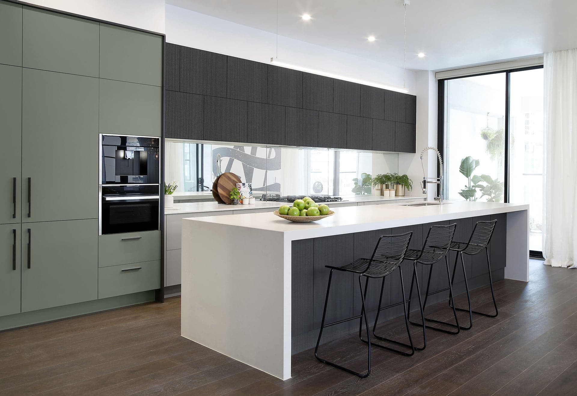green kitchen cabinets and dark brown kitchen cabinets by freedom kitchens