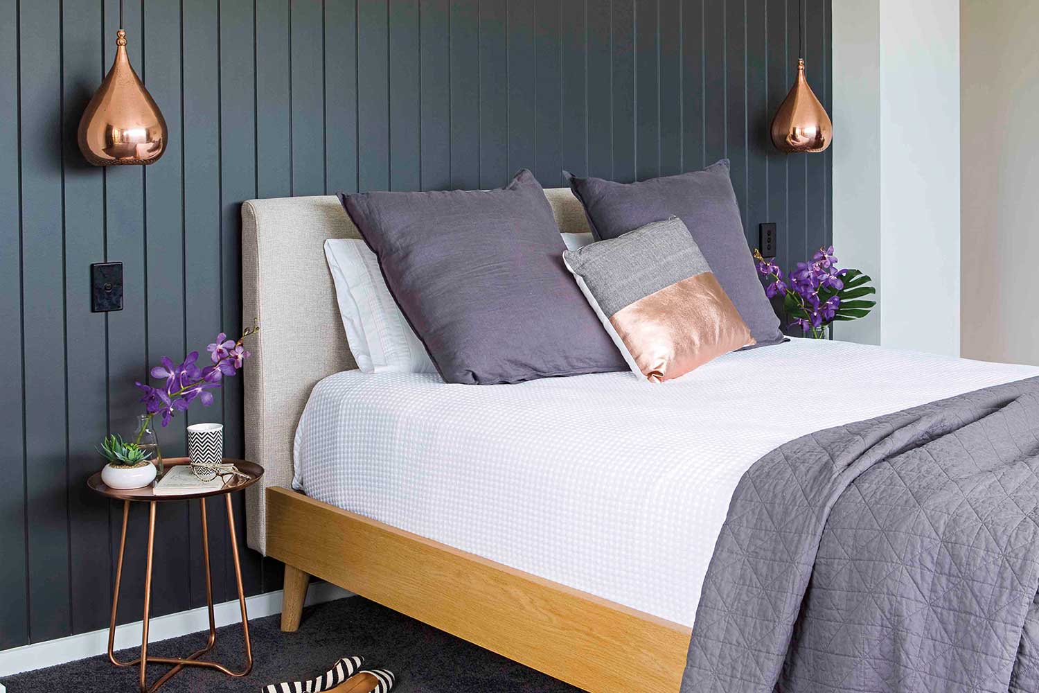 home beautiful blue tongue and groove timber wall panelling in bedroom
