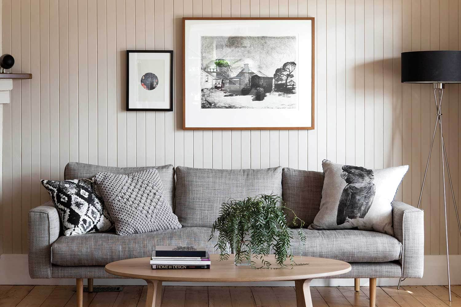 home beautiful tongue and groove wall panelling in living room with grey sofa