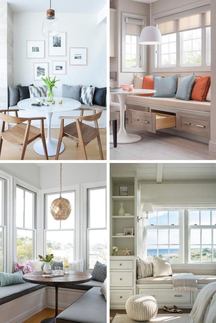 banquette seating for dining room with built in storage