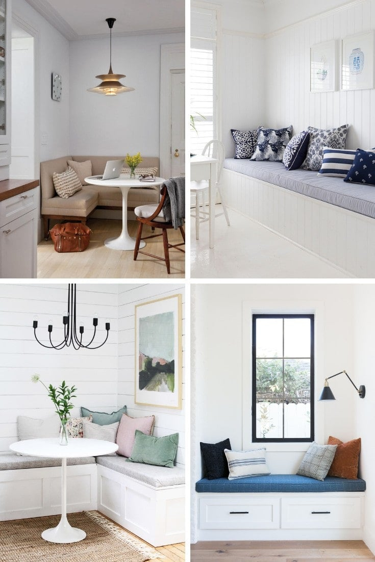 built in banquette seating for dining room with white tulip dining table
