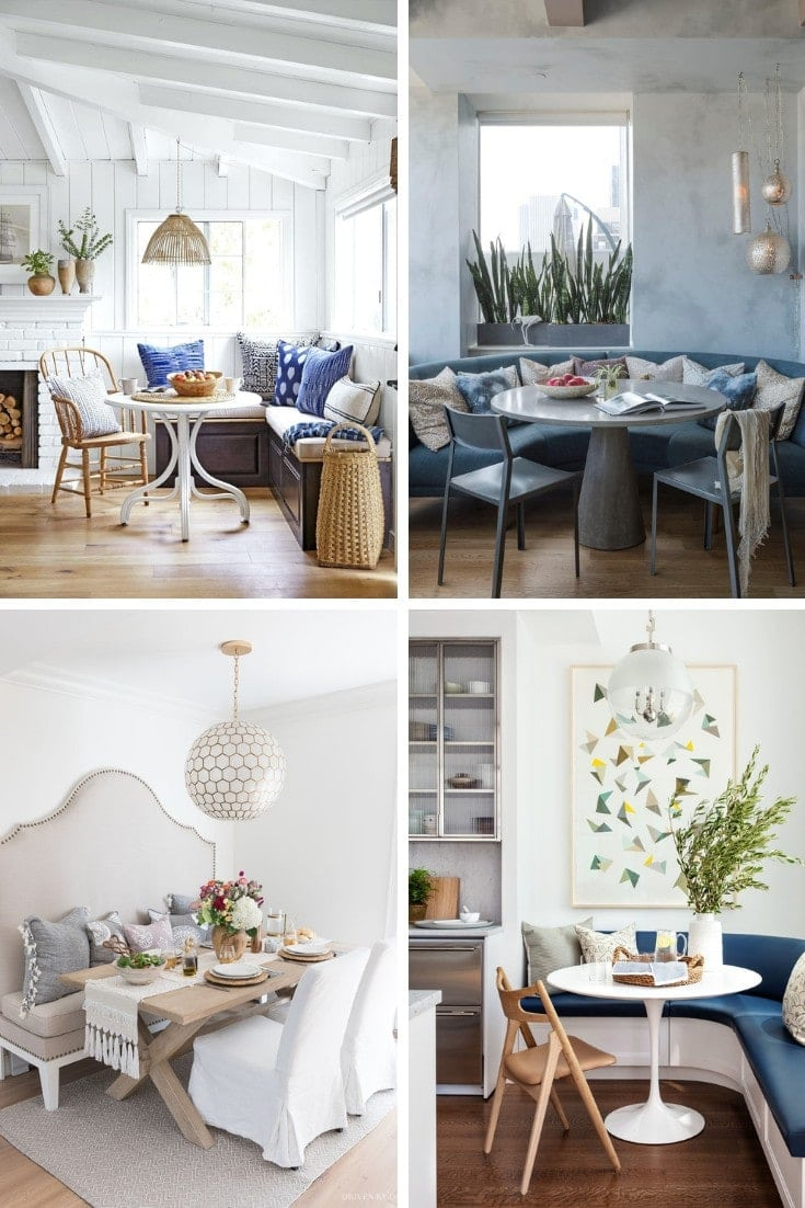 curved banquette seating for dining room with blue fabric