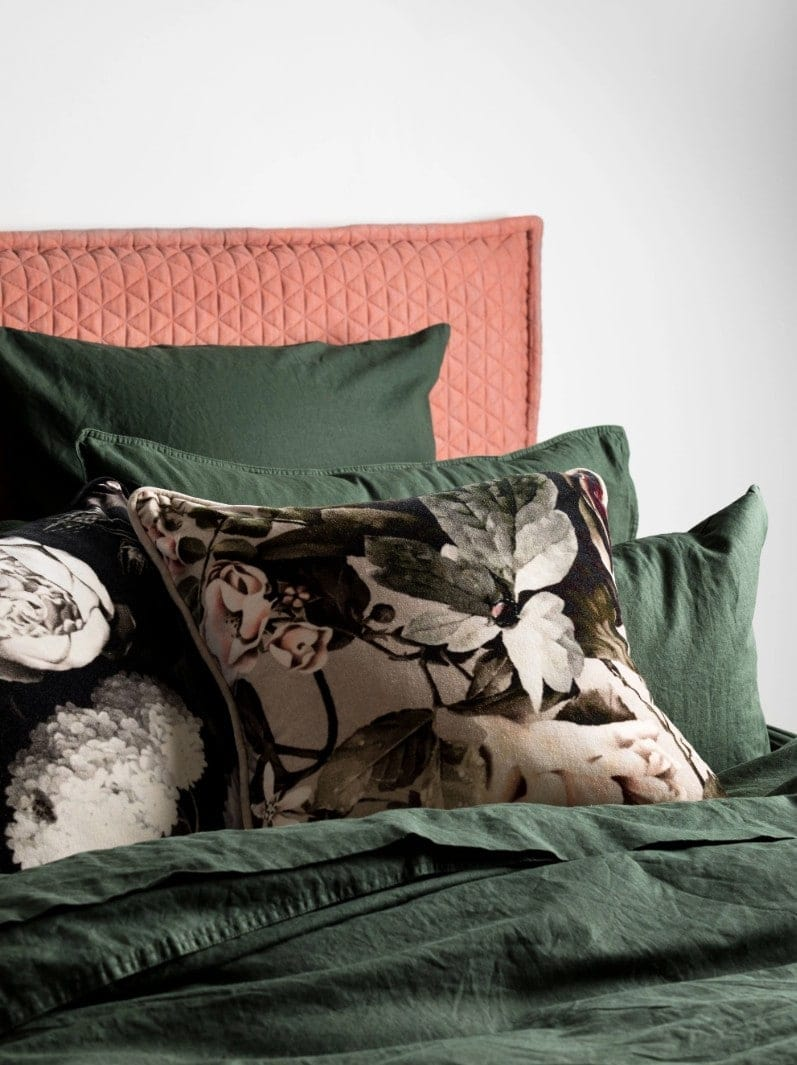 floral velvet cushion cover from l and m home on green bed linen